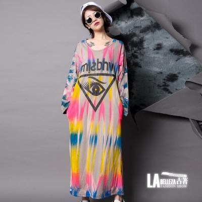 古著 倒三角眼彩色直條波紋刷色長版洋裝