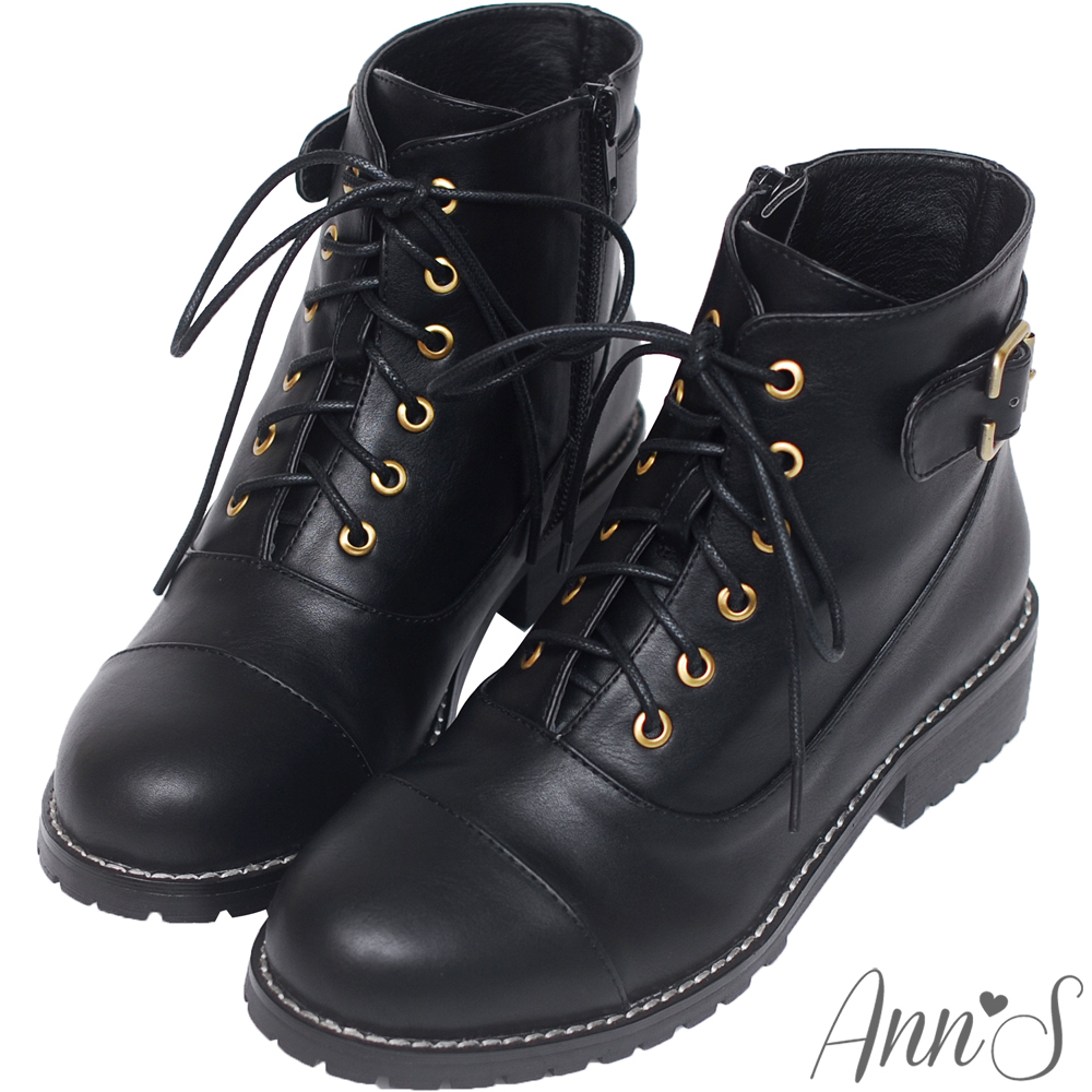 Ann'S個性元素-古銅C釦層次縫線側拉鍊綁帶低跟短靴-黑