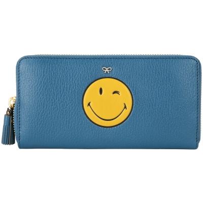 Anya Hindmarch Smiley Wink 眨眼流蘇拉鍊長夾(藍色)