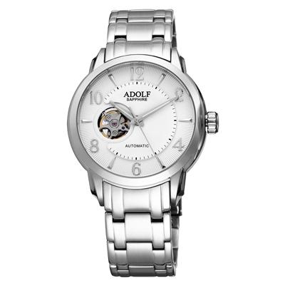 Roven Dino羅梵迪諾ADOLF系列  伴月心時尚機械腕錶-白/43mm