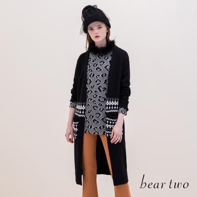 beartwo-北歐圖騰口袋造型保暖長版針織外套-二色