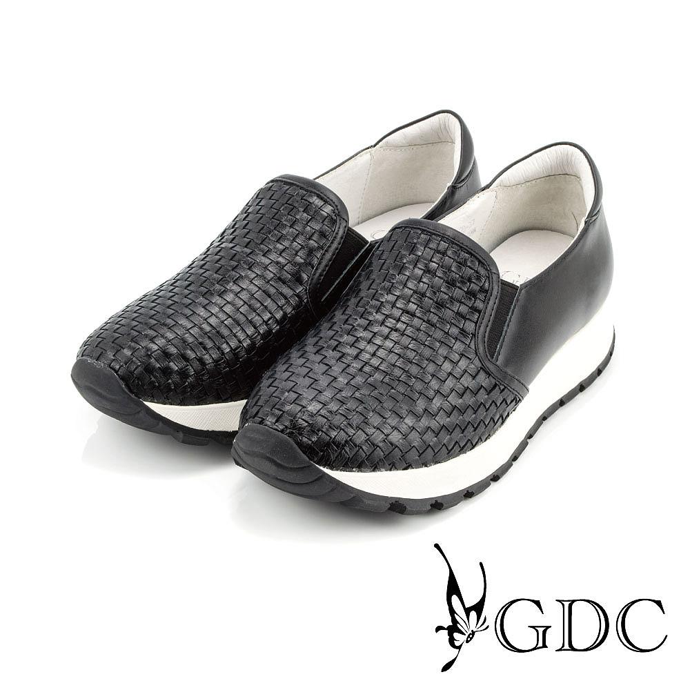 GDC-簡約時尚真皮編織紋厚底懶人休閒鞋-黑色