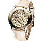 DKNY 繽紛星空大錶徑時尚晶鑽腕錶-金/43mm
