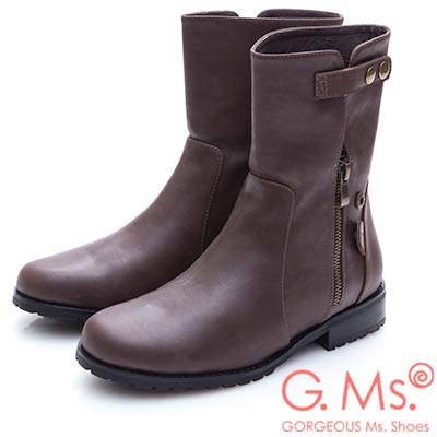 G.Ms. 牛皮2WAY拉鍊反折短靴-咖啡
