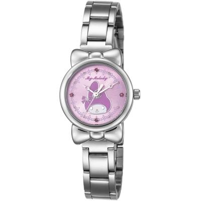 HELLO KITTY 美樂蒂可愛蝴蝶結俏皮手錶-紫/27mm