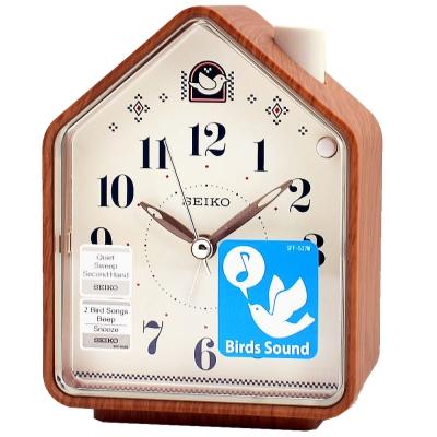 SEIKO 精工幸福鳥鳴鬧鐘(QHP005A)-原木色x白色