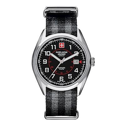 阿爾卑斯 S.A.M-獨家限定-智行系列-黑色錶盤/黑灰條紋雙色NATO帶/42mm