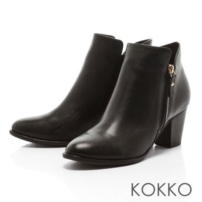 KOKKO - 極簡顯瘦拉鍊真皮粗高跟踝靴 - 黑