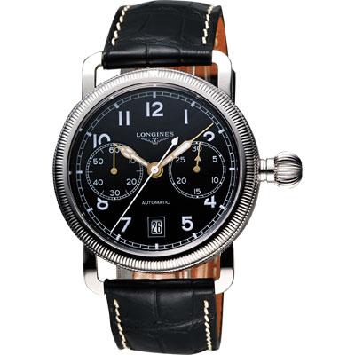 LONGINES Heritage 經典復古飛航計時機械腕錶-黑/41mm