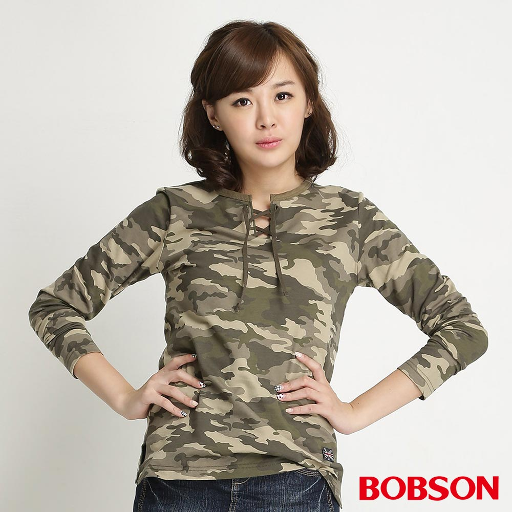 BOBSON 女款迷彩紋長袖上衣(迷彩42)