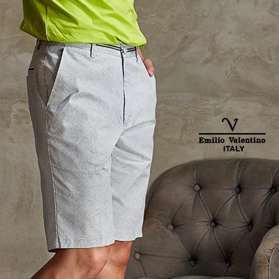 Emilio Valentino 范倫鐵諾品味印花休閒短褲_綠(66-7C3003)