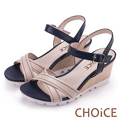 CHOiCE 簡約時尚 寬版交叉真皮縫線楔型編織涼鞋-米色