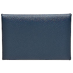 HERMES 經典Calvi系列EPSOM牛皮折疊暗釦名片/零錢包/信用卡夾(靛藍)
