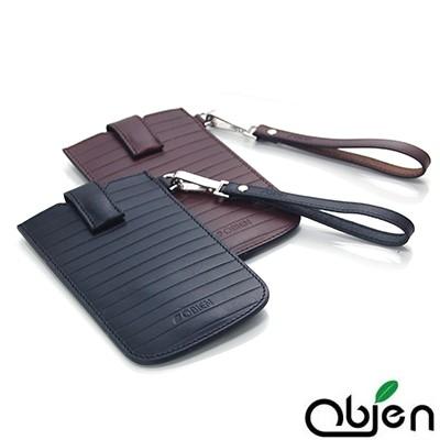 Obien-真皮植鞣革-Milano-條紋米蘭系列-台灣製-手機保護套-4-8吋以下適用