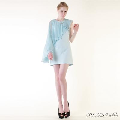 雪紡斜肩宴會洋裝-OMUSES-Fashion