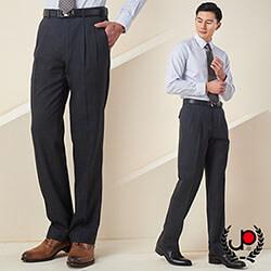極品西服-復古格紋混紡毛料雙褶西褲_灰(BS606-2)