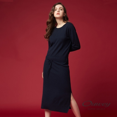 OUWEY歐薇 極簡百搭針織長版洋裝(灰/藍/紅)