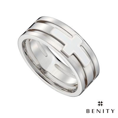 BENITY 誓守 白色搪瓷 316L醫療級 白鋼 情侶對借款 男戒