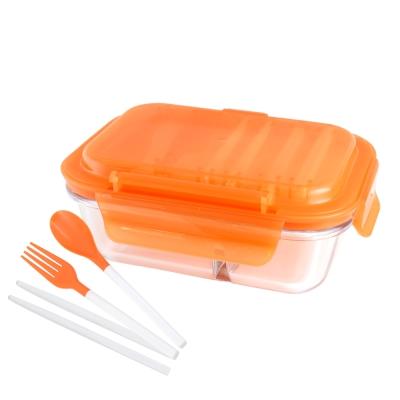 美國Winox 安玻立體2分隔玻璃保鮮盒600ML附餐具*2入