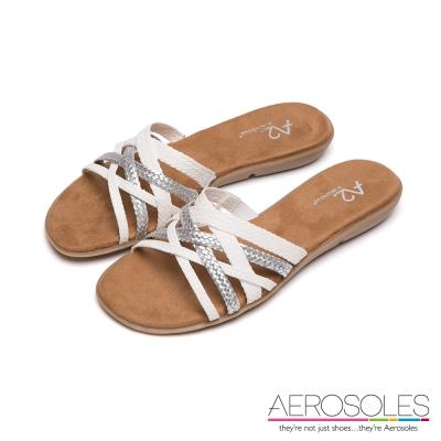 AEROSOLES-彩色麻花交叉編織帶粗低跟涼鞋-典雅白色