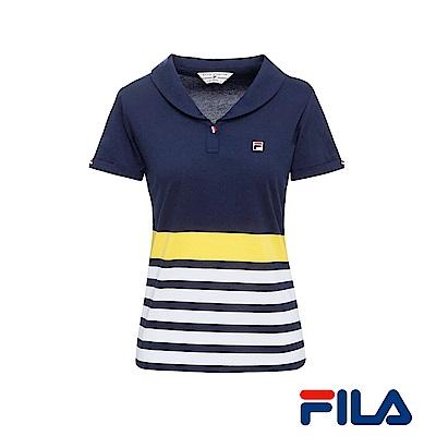 FILA女性小領條紋POLO衫(學院藍)5POR-1432-NV