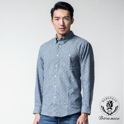 BARONECE 簡斂奢華格紋休閒襯衫_藍格(617412-09)