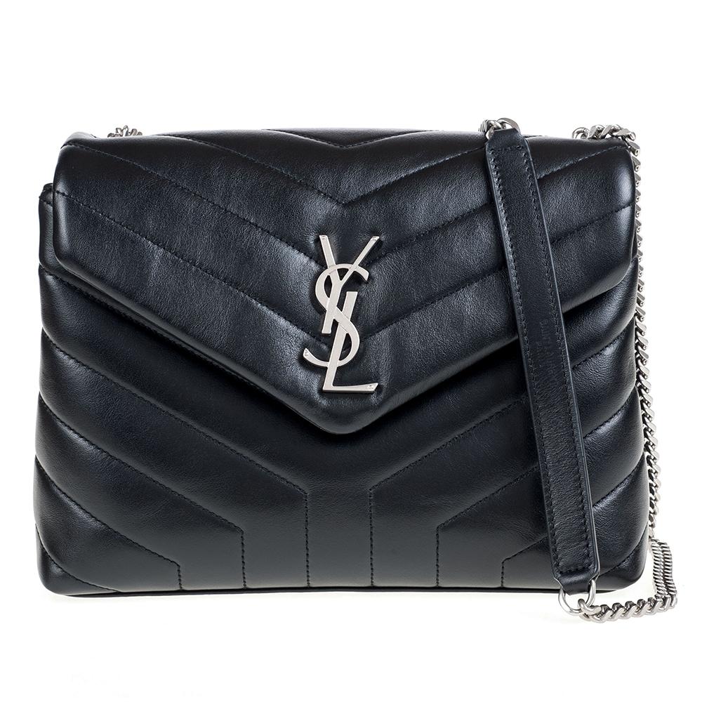YSL Loulou系列銀釦金屬Y字小牛皮V縫線設計肩揹斜揹二用包黑色