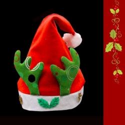 耶誕派對-綠花鹿角金雪花聖誕帽(小)