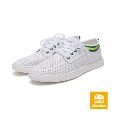 鞋櫃ShoeBox-男鞋-休閒鞋-織帶飾邊透氣孔洞綁帶休閒鞋-綠