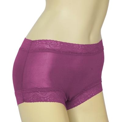 平口褲 100%蠶絲蕾絲平口內褲2件組M-XXL(紫) Seraphic