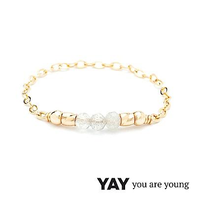 YAY You Are Young 法國品牌 Cleo 灰瑪瑙戒指 迷你款 金色