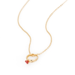 Brosway   Promise 1紅鑽戒指墜子925純銀鍍金項鍊