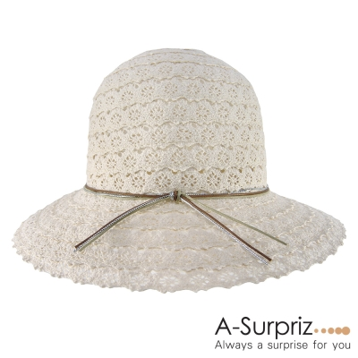 A-Surpriz-蕾絲布拼接綁線遮陽帽-米