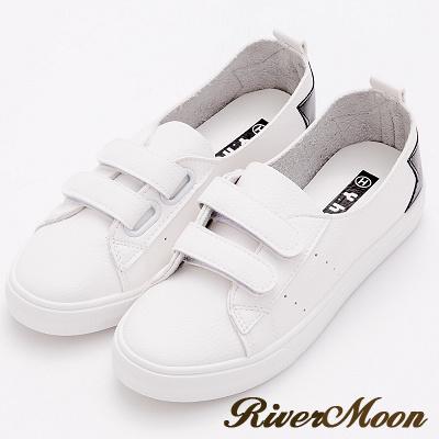 River&Moon小白鞋-韓版星星魔鬼氈Q軟超纖休閒鞋