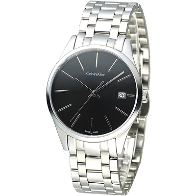 cK TIME 極簡風藍寶石水晶鏡面腕錶(K4N23141)-黑/35mm