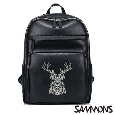 SAMMONS 尼爾森絲印麋鹿後背包 帥氣黑