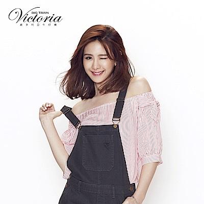 Victoria 肩綁帶打結拉克蘭短袖T-女-白底紅條