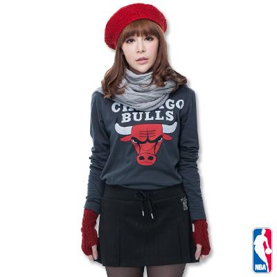 NBA-芝加哥公牛隊棉質圓領T恤-深灰-女