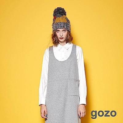 gozo-復古俐落單邊壓線純色造型長袖襯衫(二色)