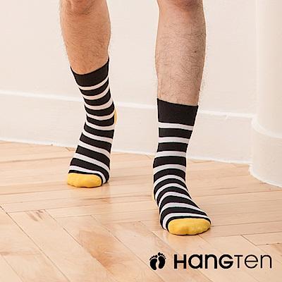 【HANG TEN】原色條紋長襪2雙入組(男)_黃(HT-024-69)