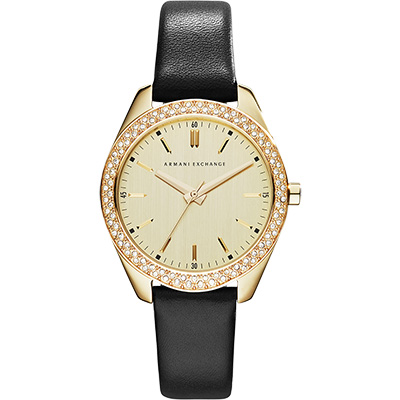 A│X Armani Exchange 輕時尚晶鑽腕錶-金/36mm