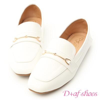 D+AF 名品概念.質感馬銜釦平底樂福鞋*白