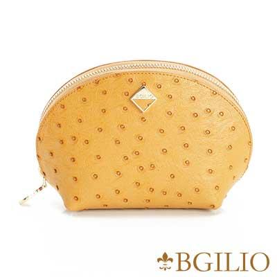 義大利BGilio 時尚駝鳥紋牛皮零錢包(大) -駝色1963.301A-04