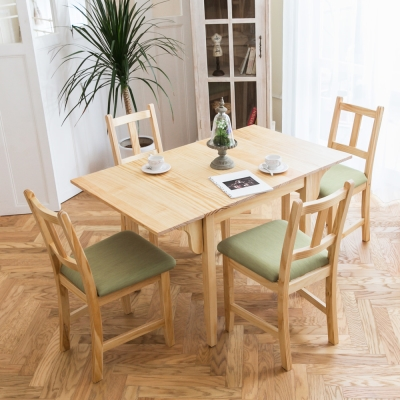 CiS自然行實木家具- 南法雙邊延伸實木餐桌椅組一桌四椅74x122公分/原木+抹茶綠椅墊