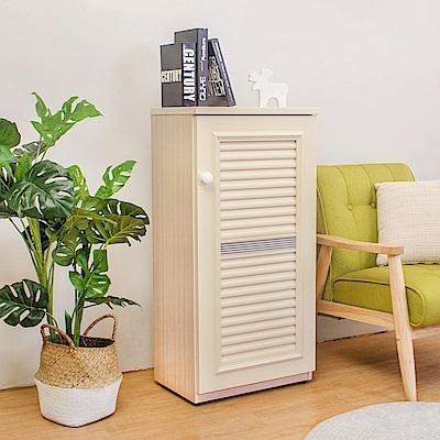 Birdie南亞塑鋼-1.6尺單門百葉塑鋼收納鞋櫃(白橡色)-49x35x100cm