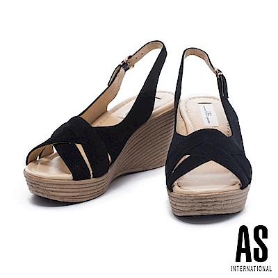 涼鞋 AS 編織風情羊麂繫帶草編楔型高跟涼鞋-黑