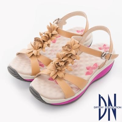 DN 春漾輕履 MIT立體花朵交織舒適厚底涼鞋-駝