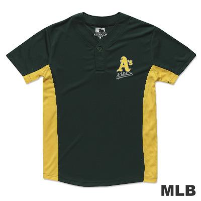 MLB-奧克蘭運動家隊開半襟印花快排球衣-綠(男)