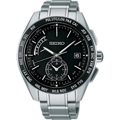 SEIKO BRIGHTZ 商務洗鍊電波萬年曆腕錶-黑/44mm