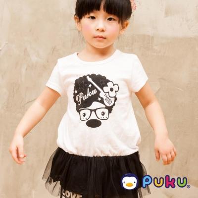 PUKU藍色企鵝 爆炸頭眼鏡POPO鬆緊蕾絲上衣裙